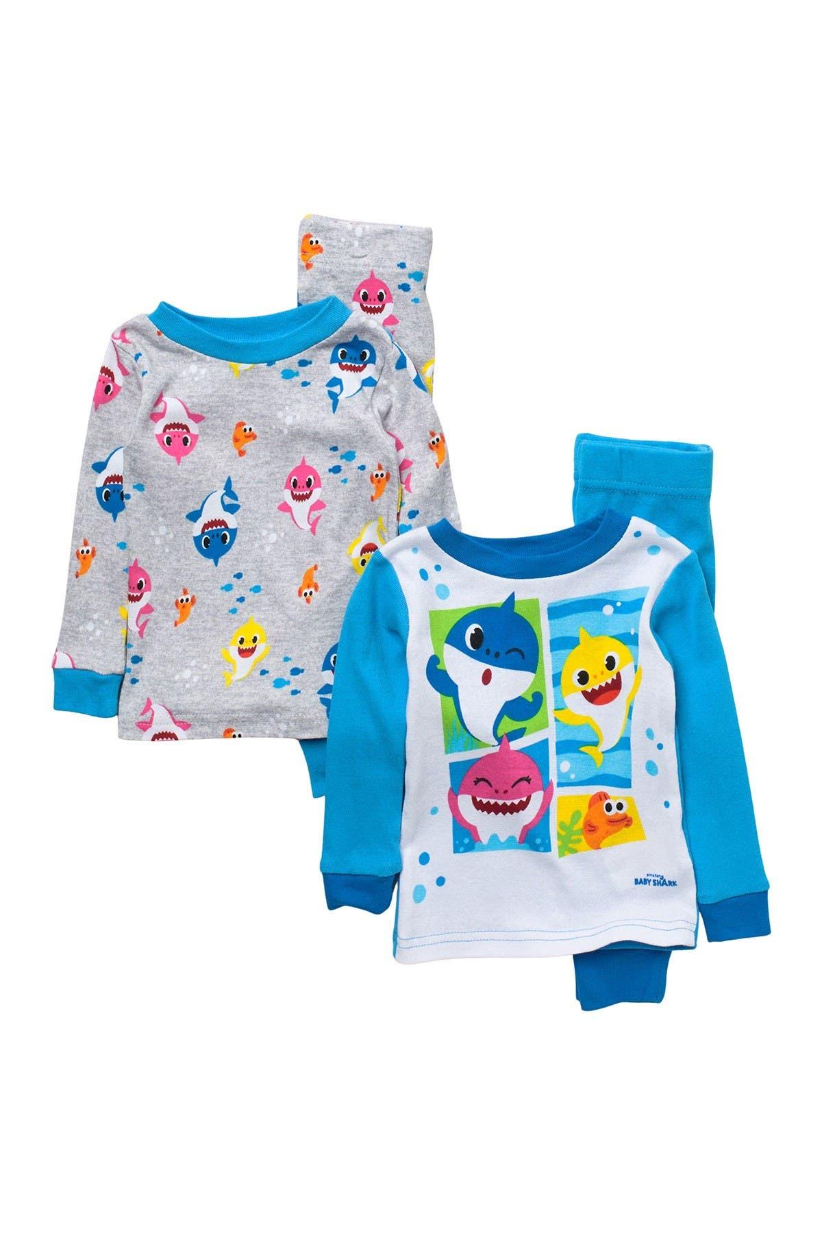 Image of AME Baby Shark Cotton Pajama Set - Set of 2