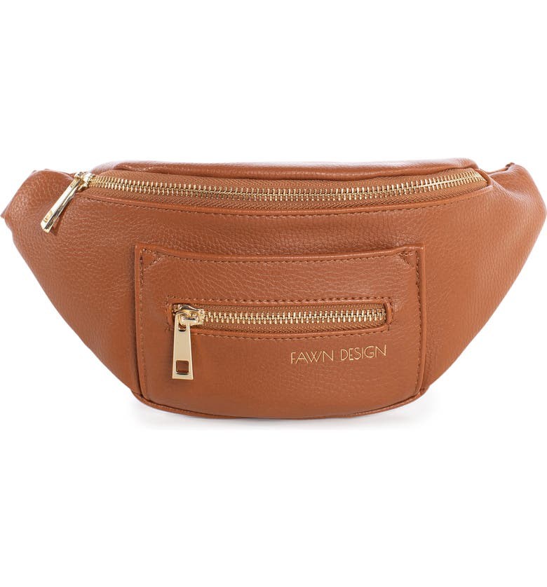 FAWN DESIGN The Fawny Faux Leather Belt Bag, Main, color, BROWN