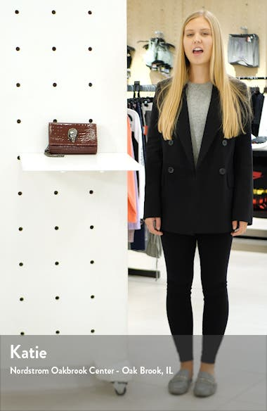 Small Shoreditch Croc Embossed Patent Leather Clutch, sales video thumbnail