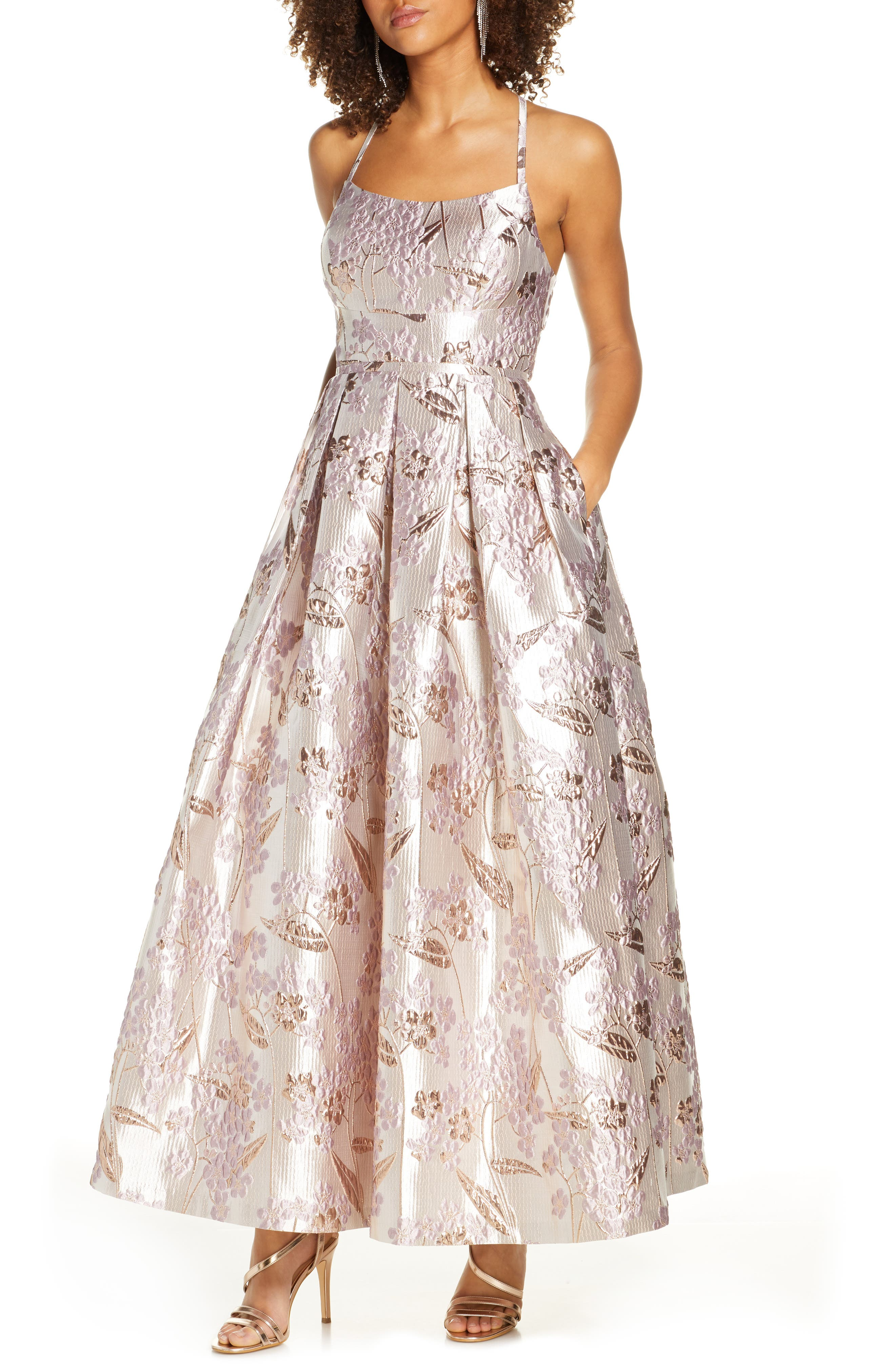 Vintage 50s Dresses: Best 1950s Dress Styles Womens Morgan And Co. Metallic Brocade Ballgown $189.00 AT vintagedancer.com