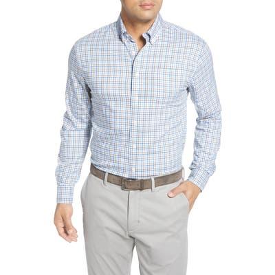 Johnnie-O Stan Check Button-Down Performance Shirt, Blue