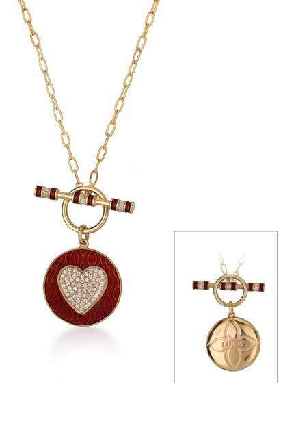 Image of Gabi Rielle 14K Gold Vermeil Red French Enamel Heart & Toggle Luck Necklace
