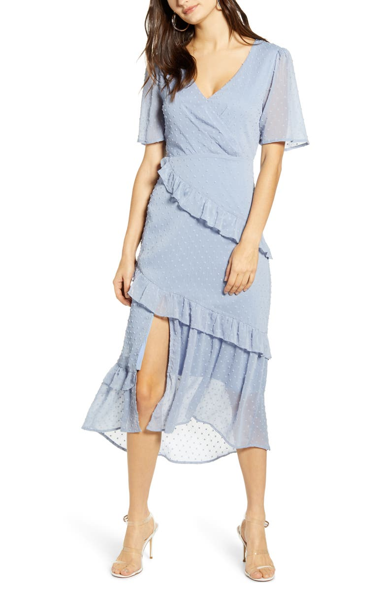 ALL IN FAVOR Tiered Ruffle Dress, Main, color, 400