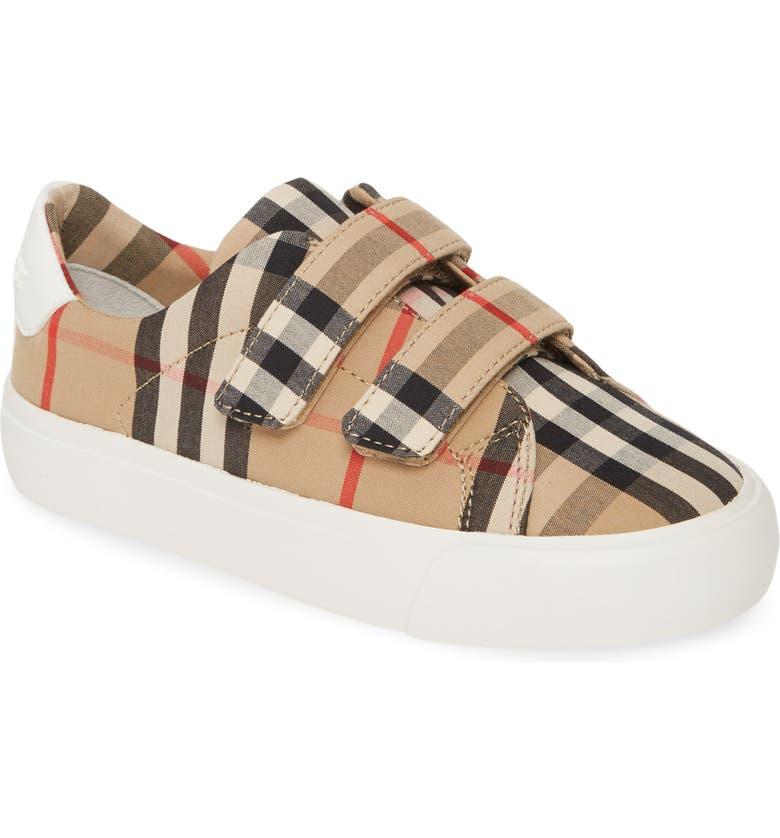 BURBERRY Mini Markham Check Sneaker, Main, color, ARCHIVE BEIGE/WHITE