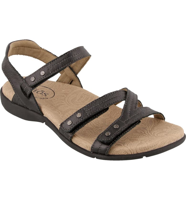 TAOS Happy Sandal, Main, color, BLACK LEATHER