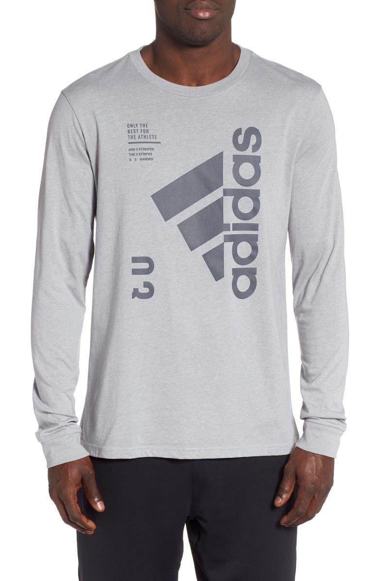 ADIDAS Long Sleeve Technical T-Shirt, Main, color, GREY