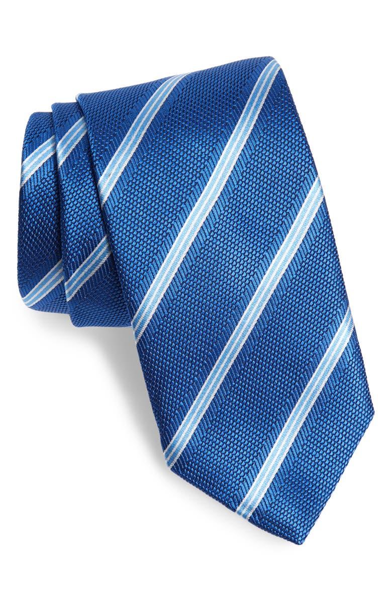 DAVID DONAHUE Stripe Silk Tie, Main, color, NAVY
