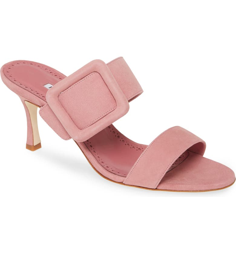 MANOLO BLAHNIK Gable Buckle Slide Sandal, Main, color, ROSE PINK SUEDE