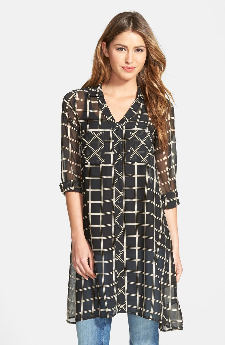 PLEIONE Plaid Chiffon Tunic, Main, color, 010