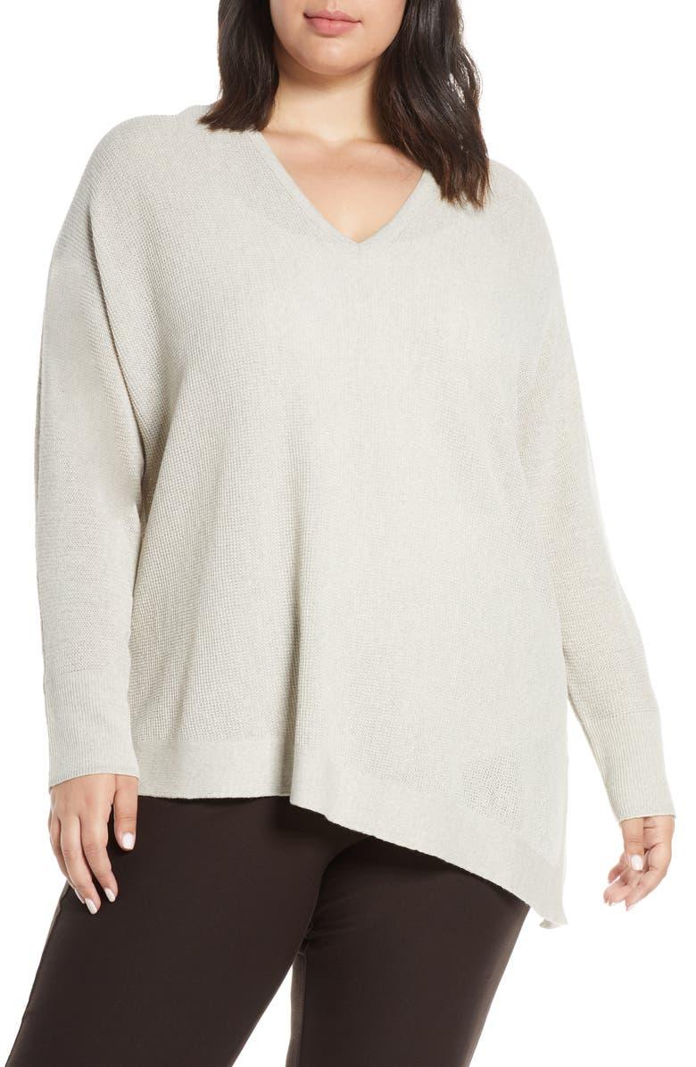 EILEEN FISHER V-Neck Asymmetrical Boxy Wool Sweater, Main, color, SEA SALT
