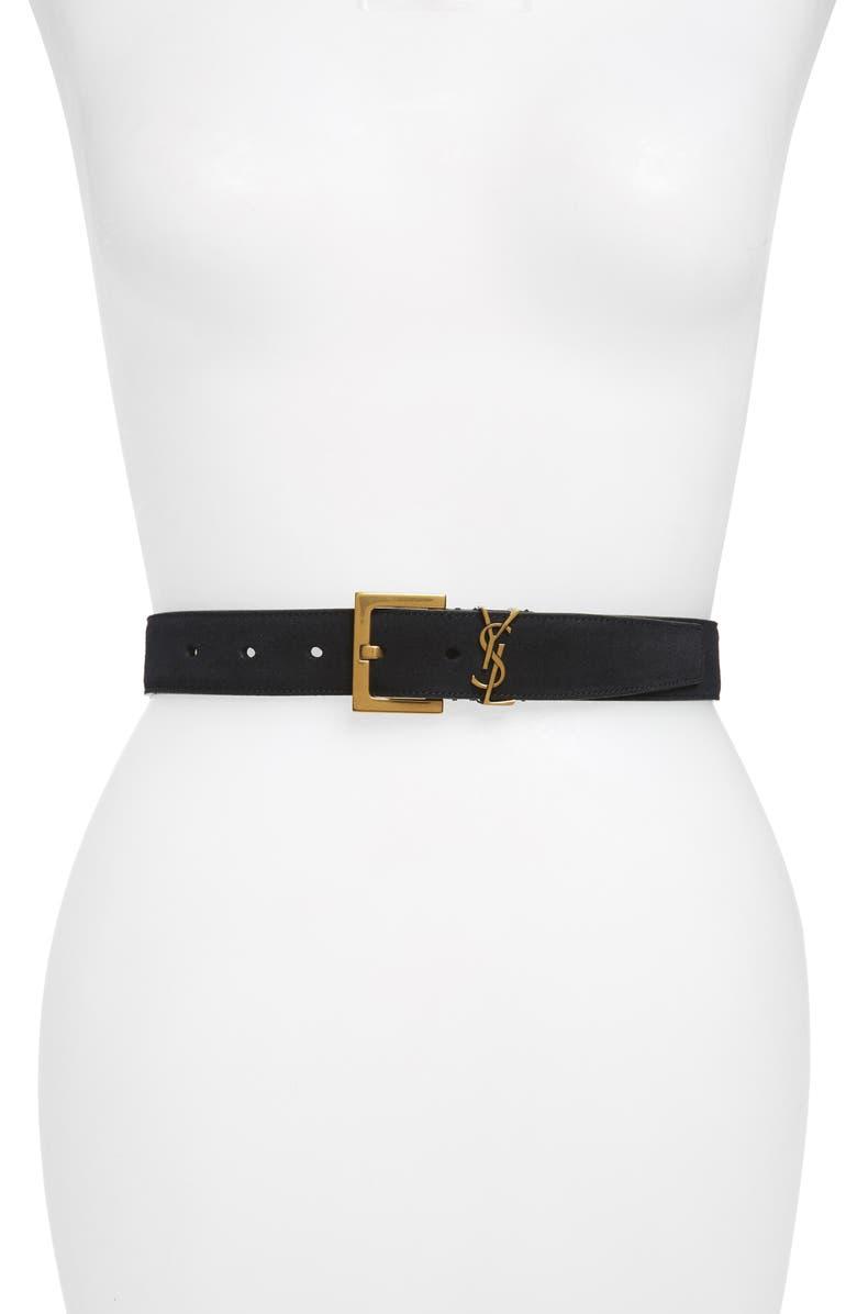 SAINT LAURENT YSL Cintura Suede Belt, Main, color, NOIR/ GOLD