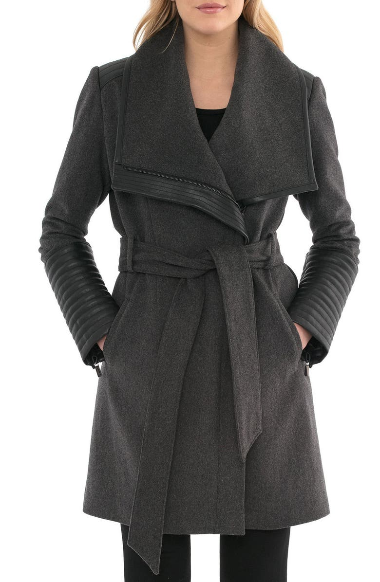BELLE BADGLEY MISCHKA Belle BadgleyMischka 'Lorian' FauxLeather Trim BeltedAsymmetrical Wool Blend Coat, Main, color, 023