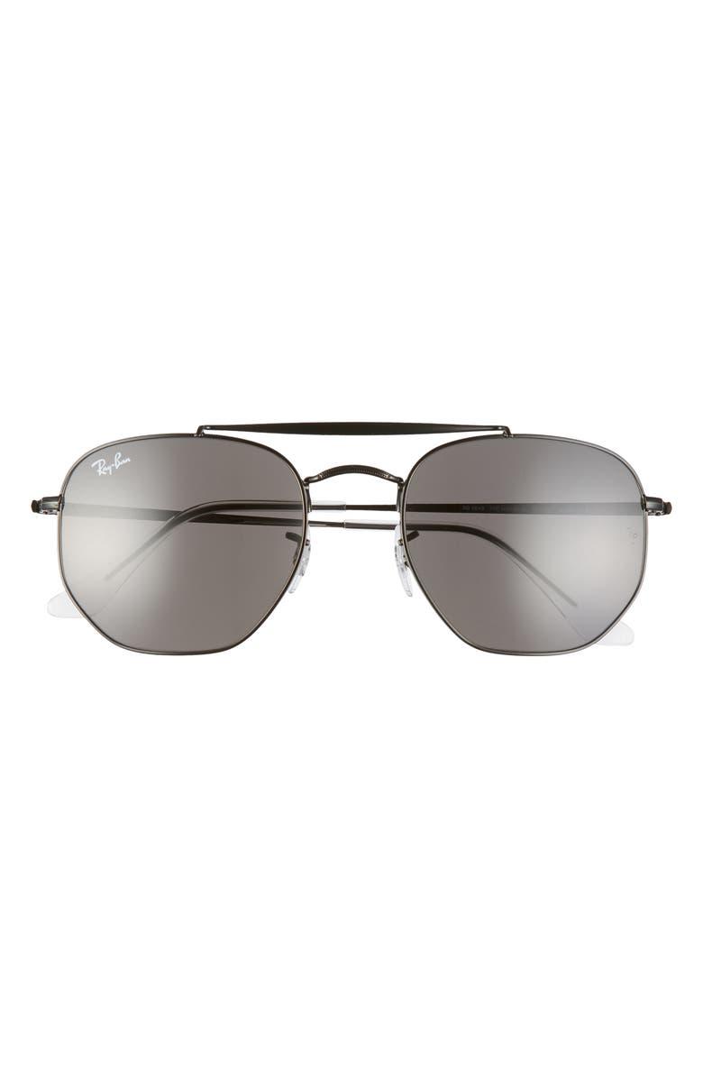 RAY-BAN Marshal 54mm Aviator Sunglasses, Main, color, SHINY BLACK/ GREY SOLID