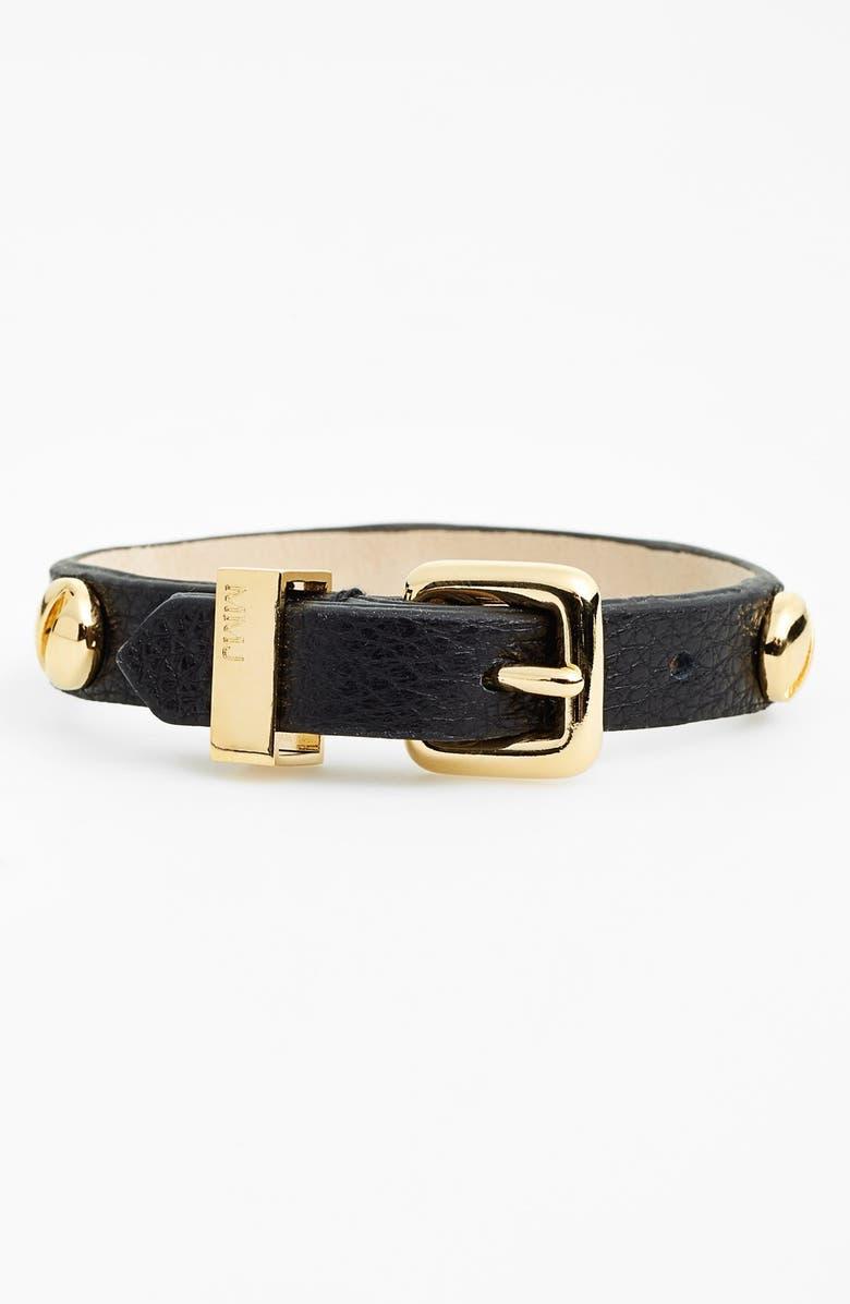 MARC BY MARC JACOBS 'Screw It' Leather Buckle Bracelet, Main, color, 001