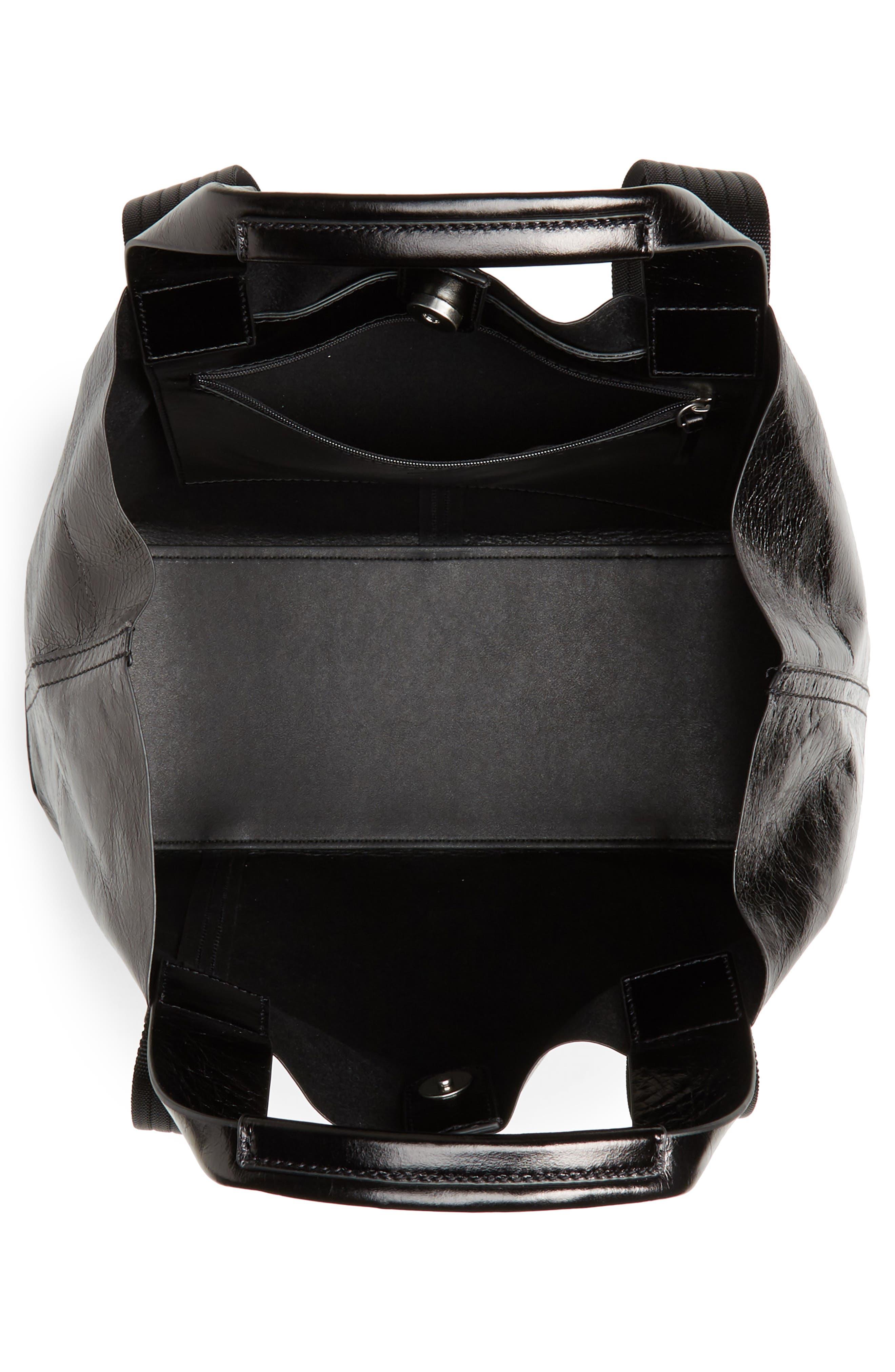 ,                             Austen Leather Tote,                             Alternate thumbnail 5, color,                             BLACK