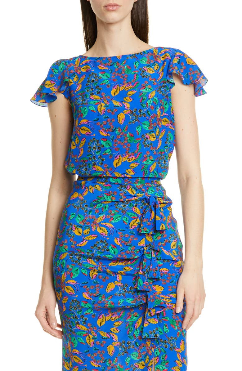 SALONI Daphne Silk Top, Main, color, AZURE BERRY LEAF