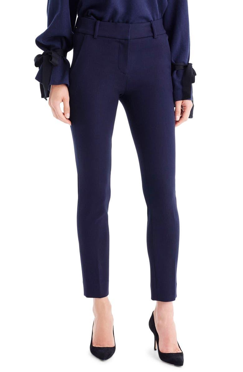 J.CREW Cameron Four Season Crop Pants, Main, color, NAVY