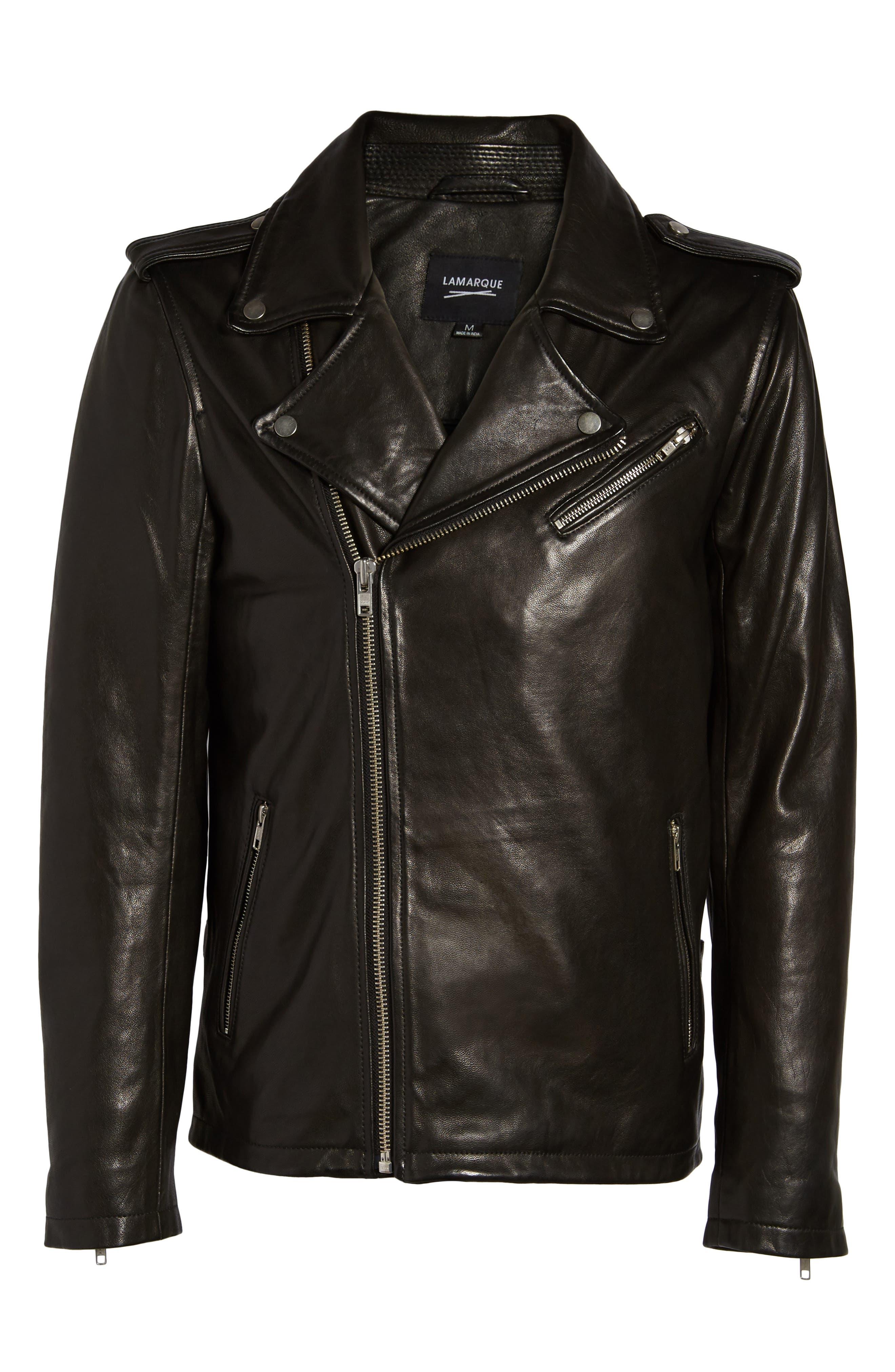 ,                             Leather Biker Jacket,                             Alternate thumbnail 6, color,                             BLACK