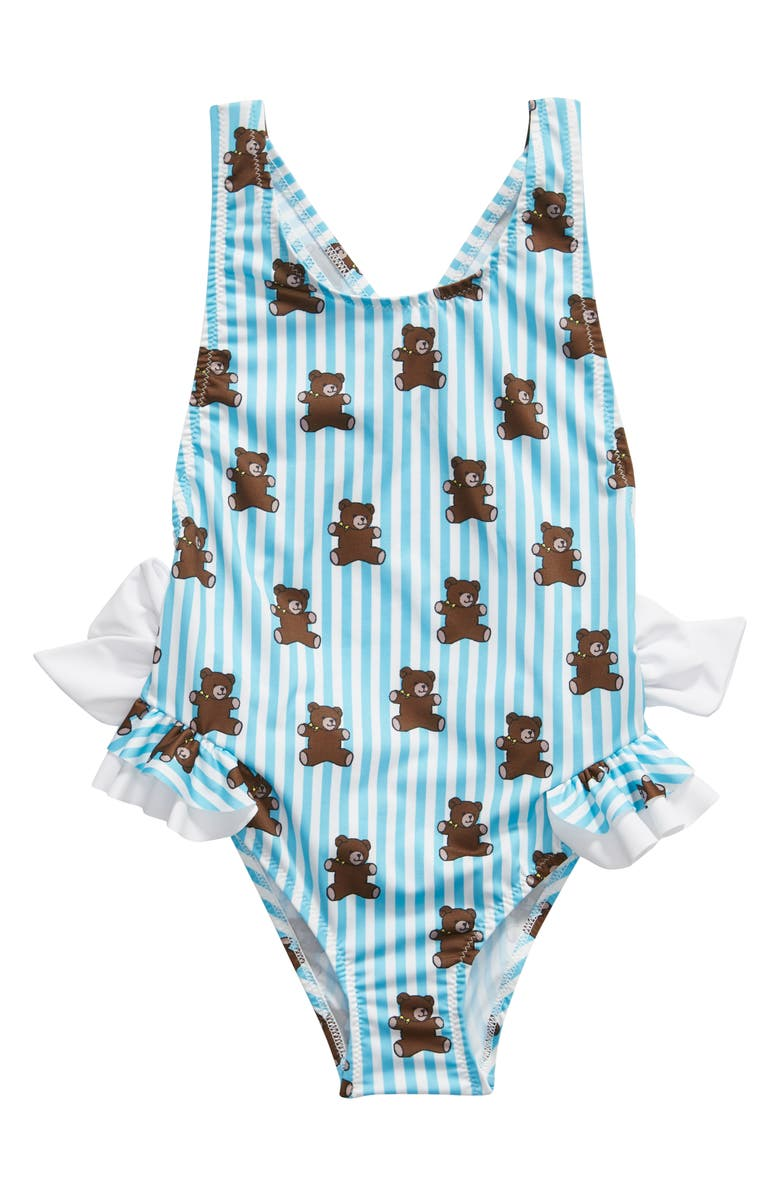 PICCOLI PRINCIPI Pimenta One-Piece Swimsuit, Main, color, BLUE STRIPES AND BEARS