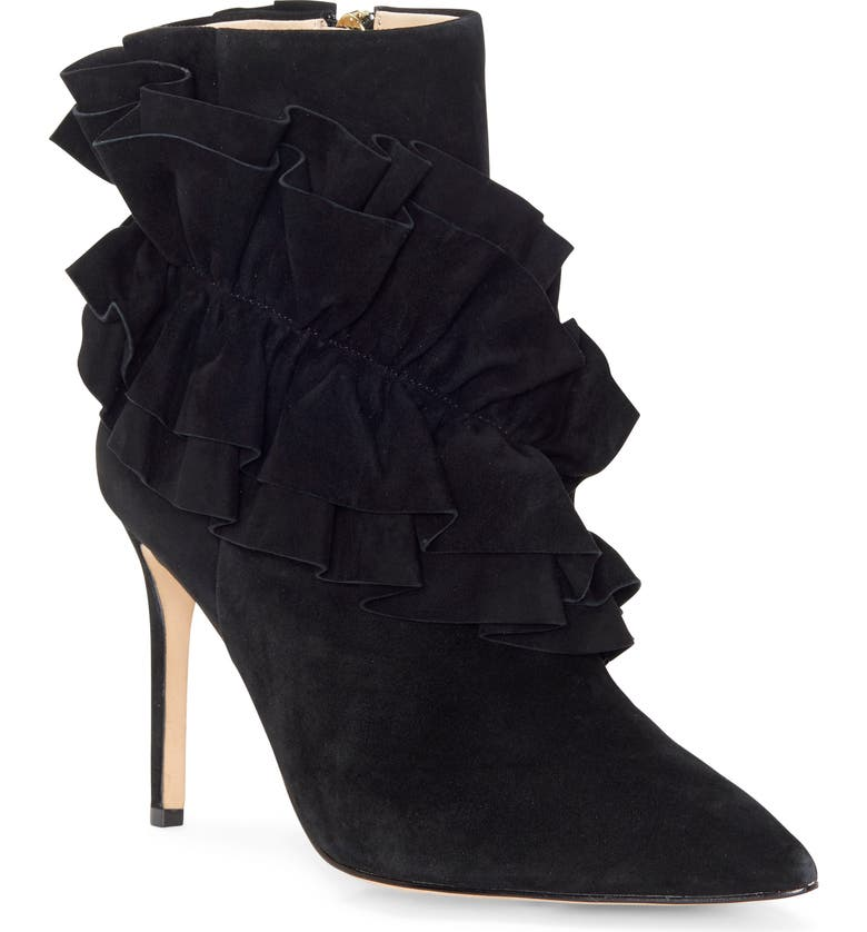 LOUISE ET CIE Jalia Ruffle Bootie, Main, color, BLACK SUEDE