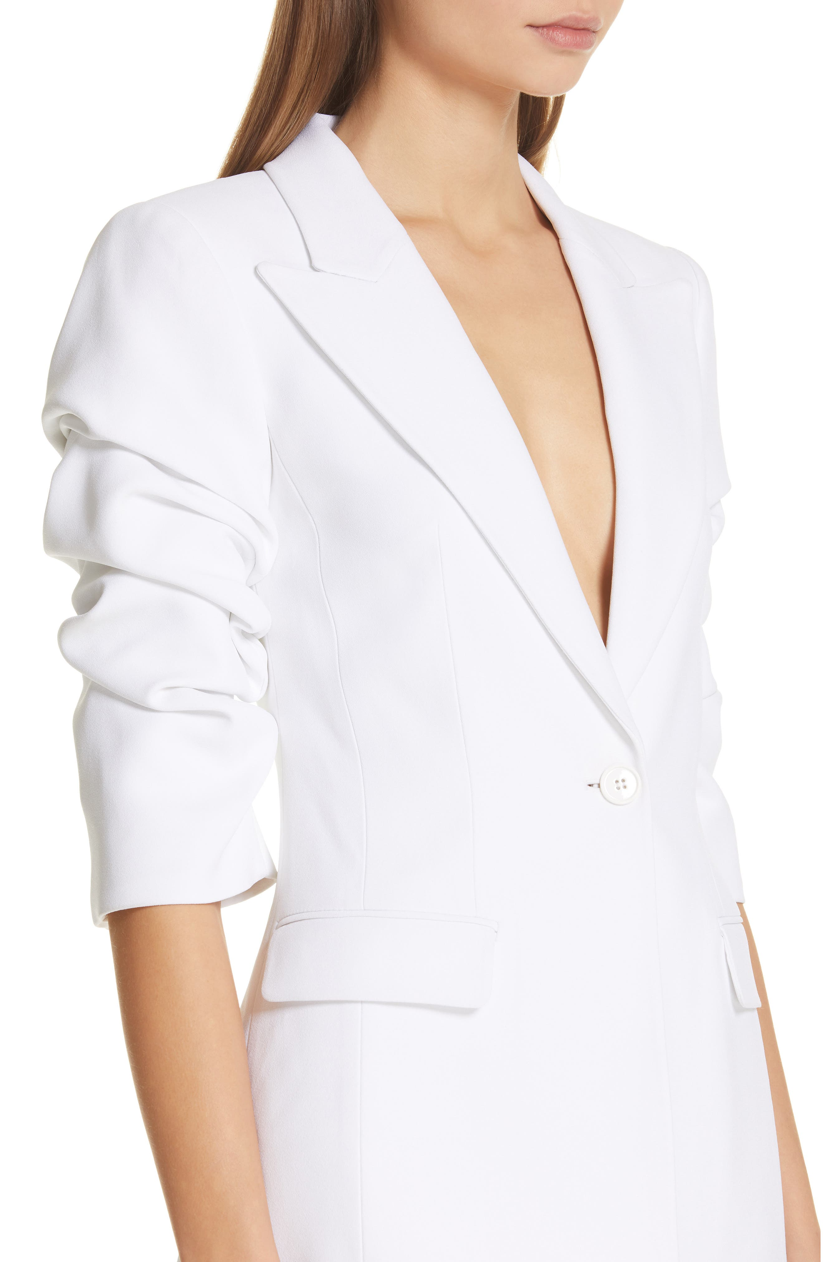 ,                             Ruched Sleeve Blazer,                             Alternate thumbnail 5, color,                             OPTIC WHITE