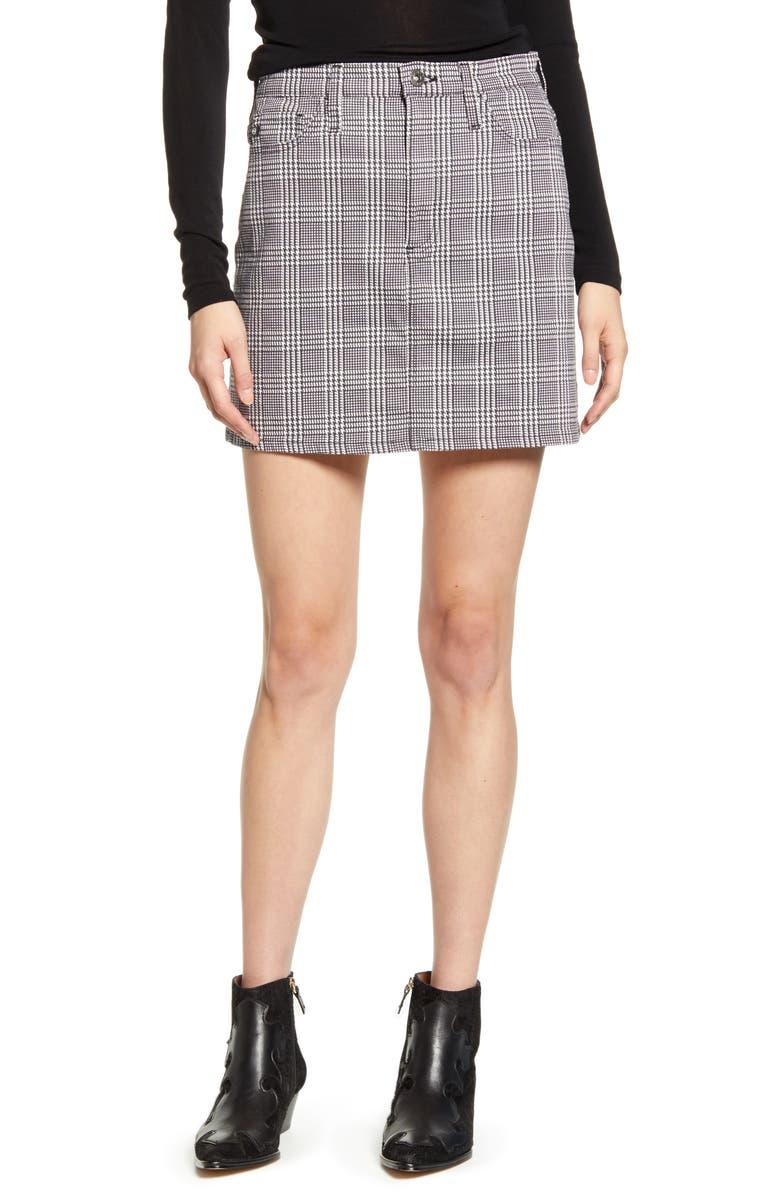 AG Harlo Plaid Miniskirt, Main, color, HOUNDS PL WHITE/ BLACK