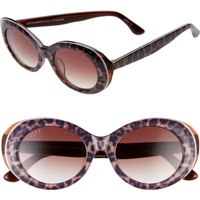 Diff Olivia 50Mm Oval Sunglasses - Leopard Tortoise/ Brown