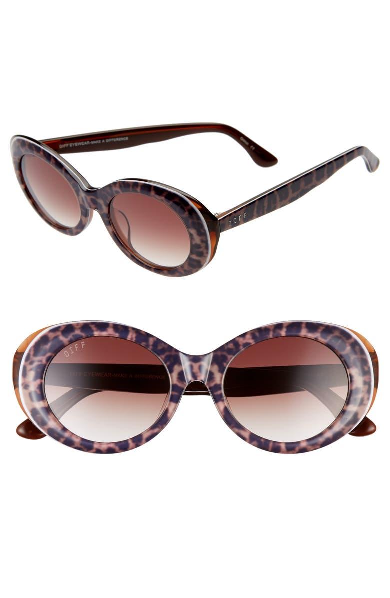 DIFF Olivia 50mm Oval Sunglasses, Main, color, 200