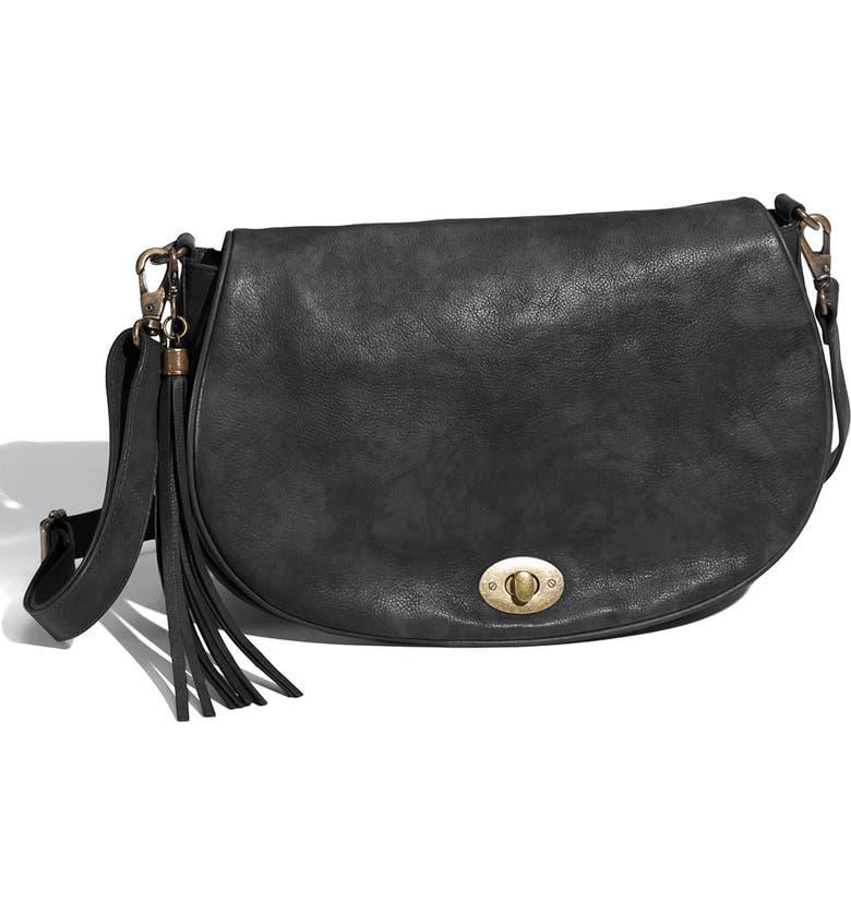 HALOGEN<SUP>®</SUP> 'Half Moon' Tasseled Crossbody Bag, Main, color, 001