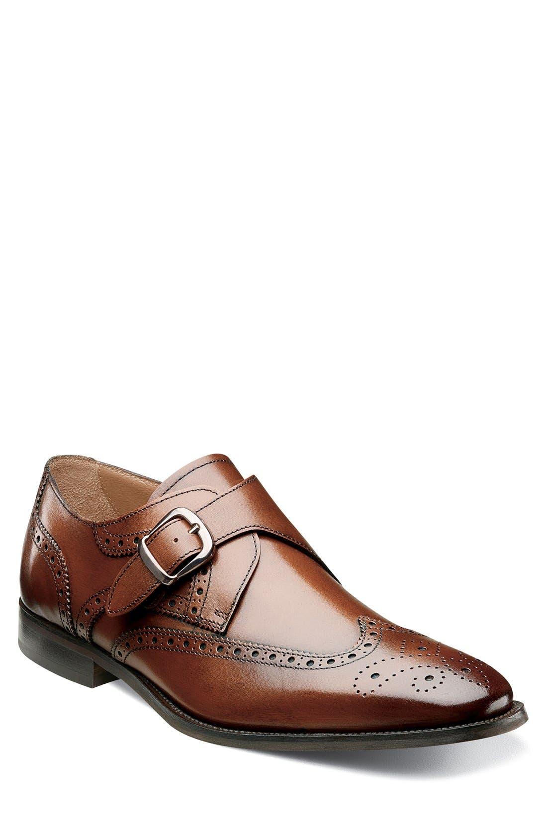 ,                             'Sabato' Wingtip Monk Strap Shoe,                             Main thumbnail 1, color,                             MEDIUM BROWN