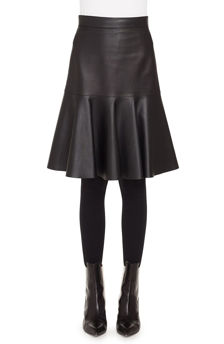 AKRIS PUNTO Ruffled Hem Leather Skirt, Main, color, BLACK