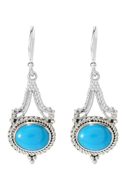 Image of Samuel B Jewelry Sterling Silver Sleeping Beauty Turquoise Drop Earrings