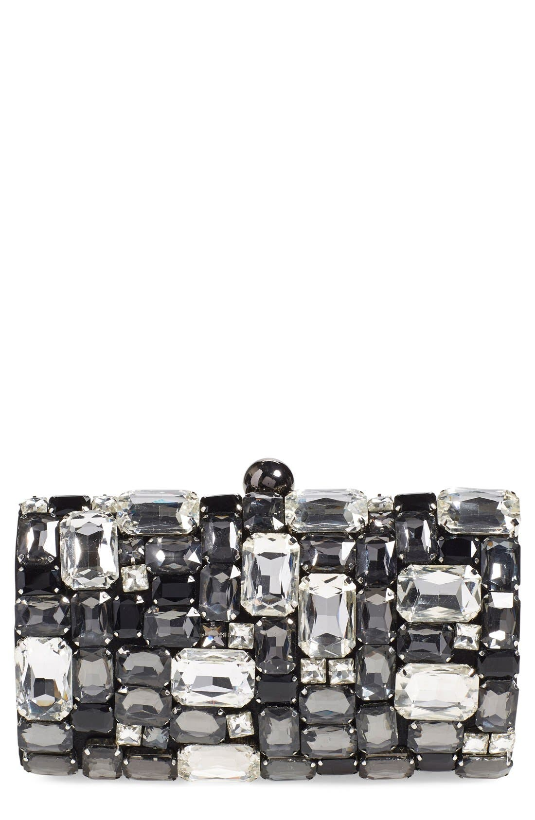 ,                             Crystal Embellished Clutch,                             Main thumbnail 1, color,                             001