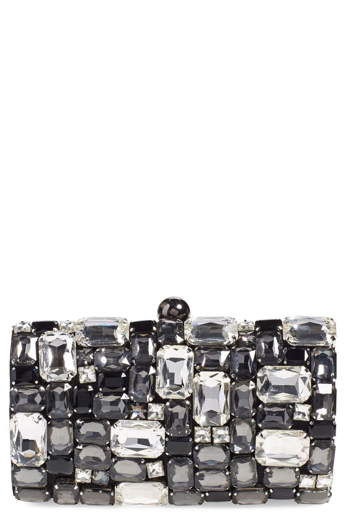 Crystal Embellished Clutch, Main, color, 001
