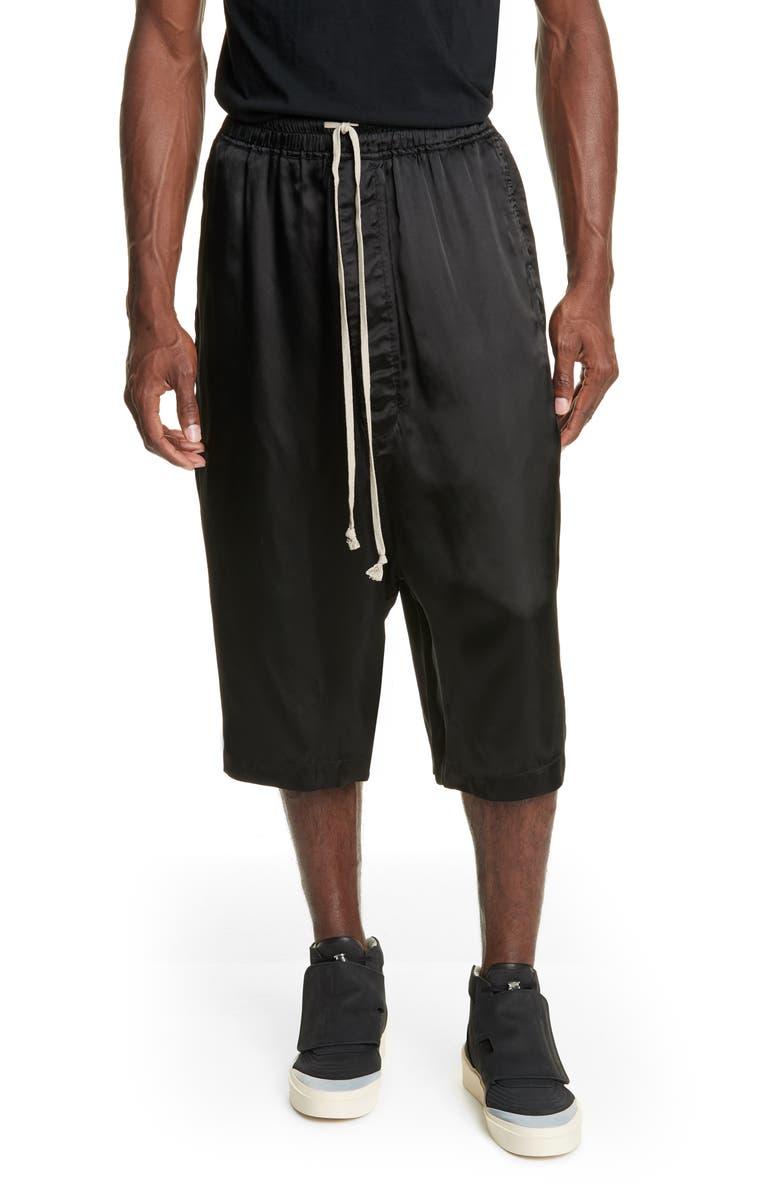 RICK OWENS Karloff Drawstring Pantaloni Shorts, Main, color, BLACK