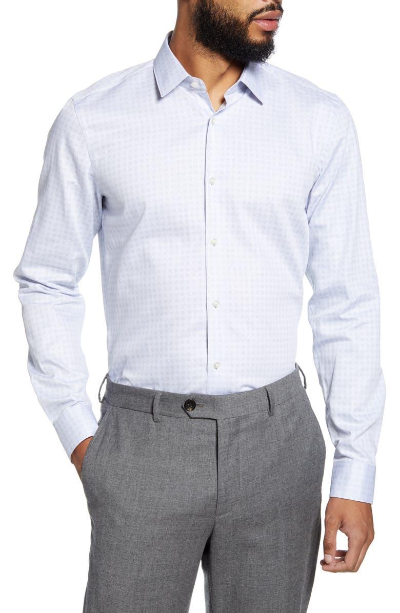 BOSS Isko Slim Fit Geometric Dress Shirt, Main, color, 100