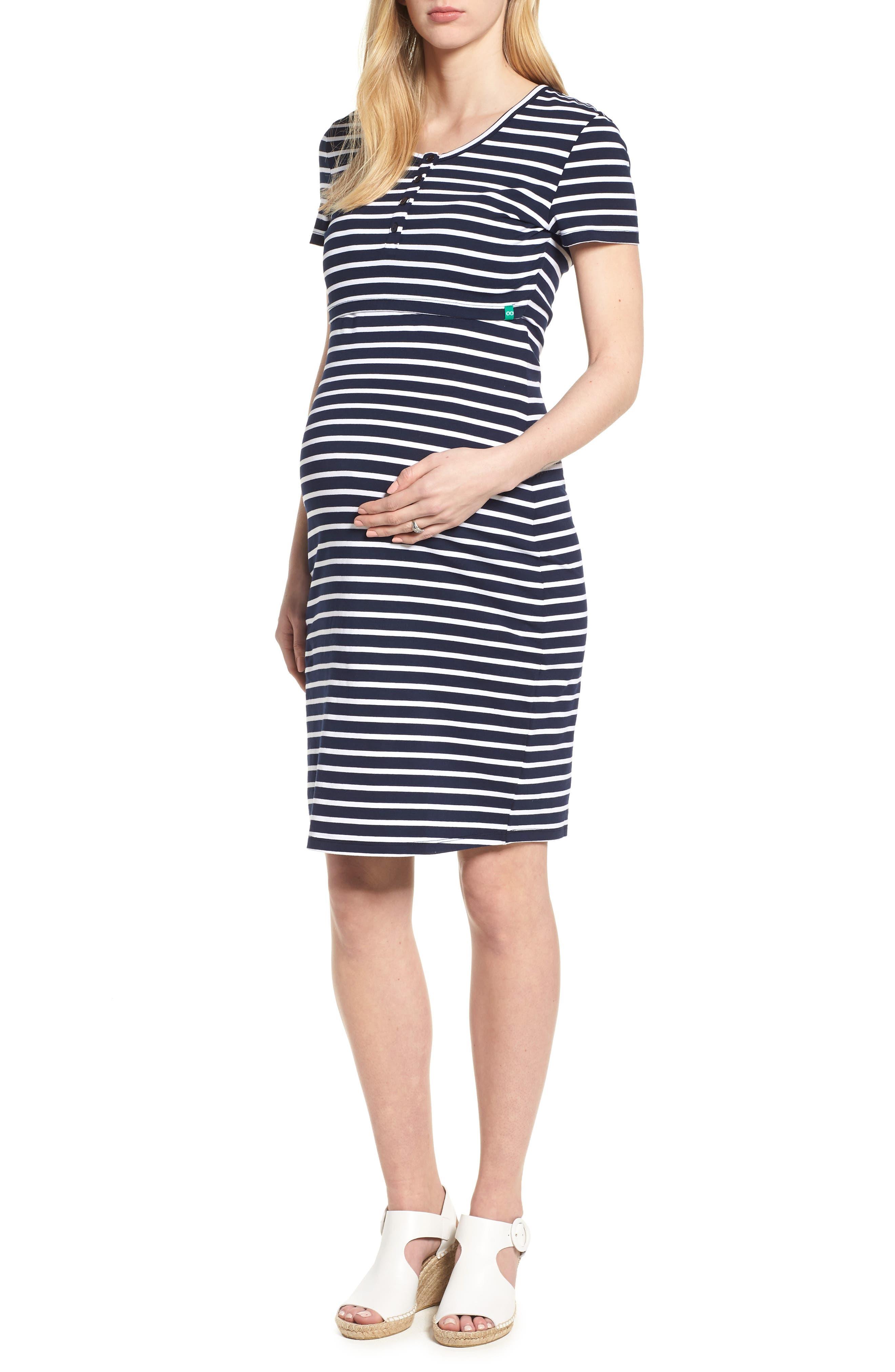 Modern Eternity Maternity/nursing Henley T-Shirt Dress, Blue
