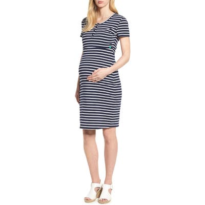 Modern Eternity Maternity/nursing Henley T-Shirt Dress, Blue