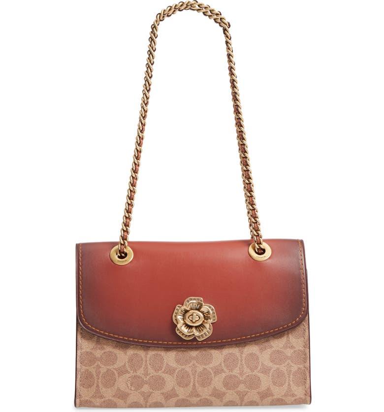COACH Parker Leather & Canvas Shoulder Bag, Main, color, RUST