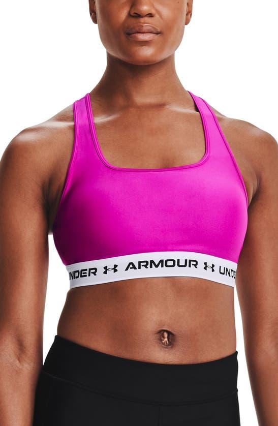Under Armour Women's Heatgear Mid-impact Sports Bra In Meteor Pink / White / Black