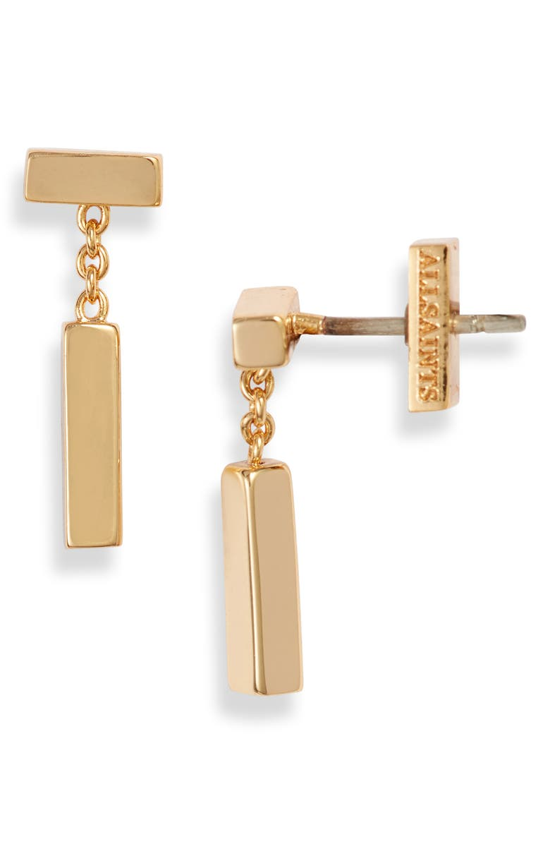 ALLSAINTS Bar & Chain Drop Earrings, Main, color, GOLD