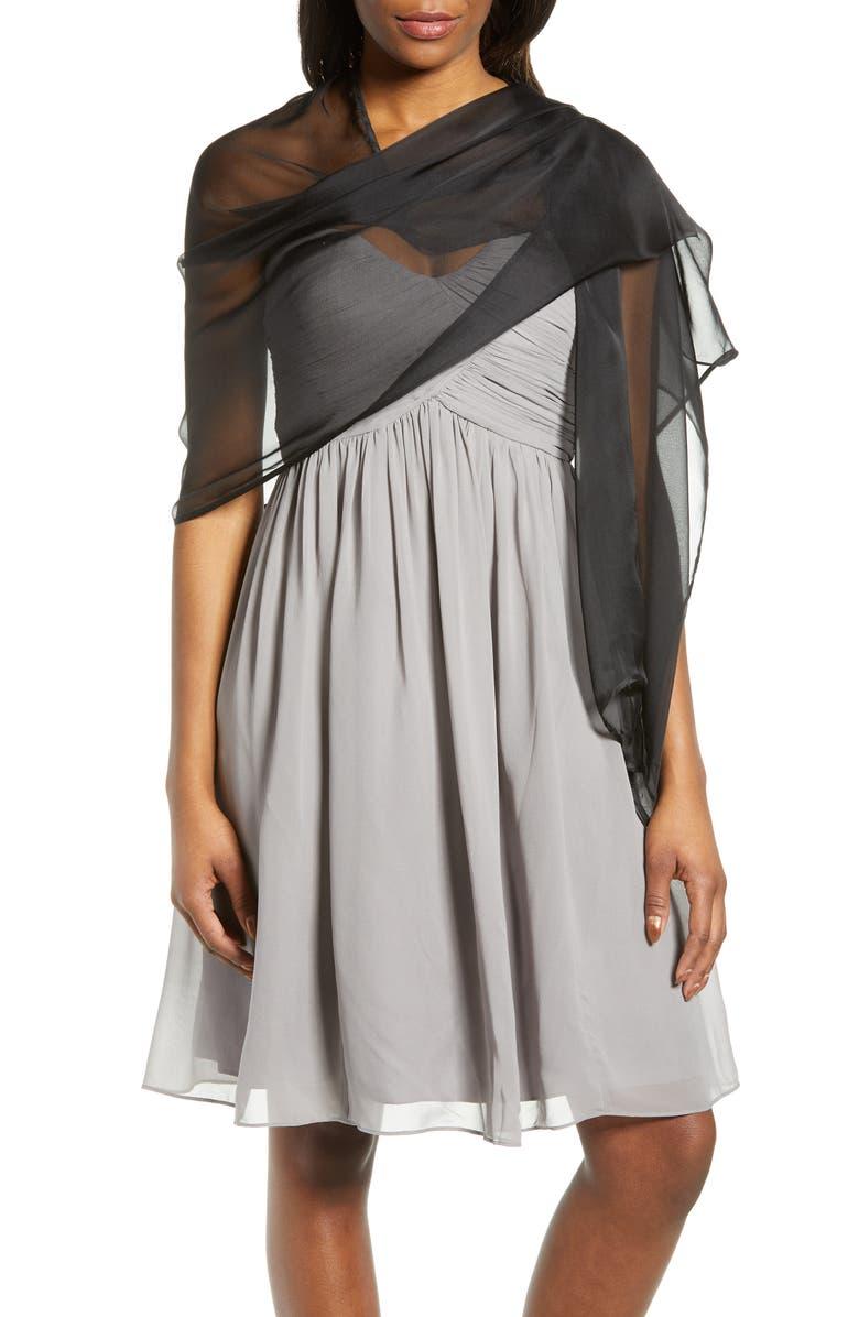 NORDSTROM Silk Chiffon Wrap, Main, color, BLACK