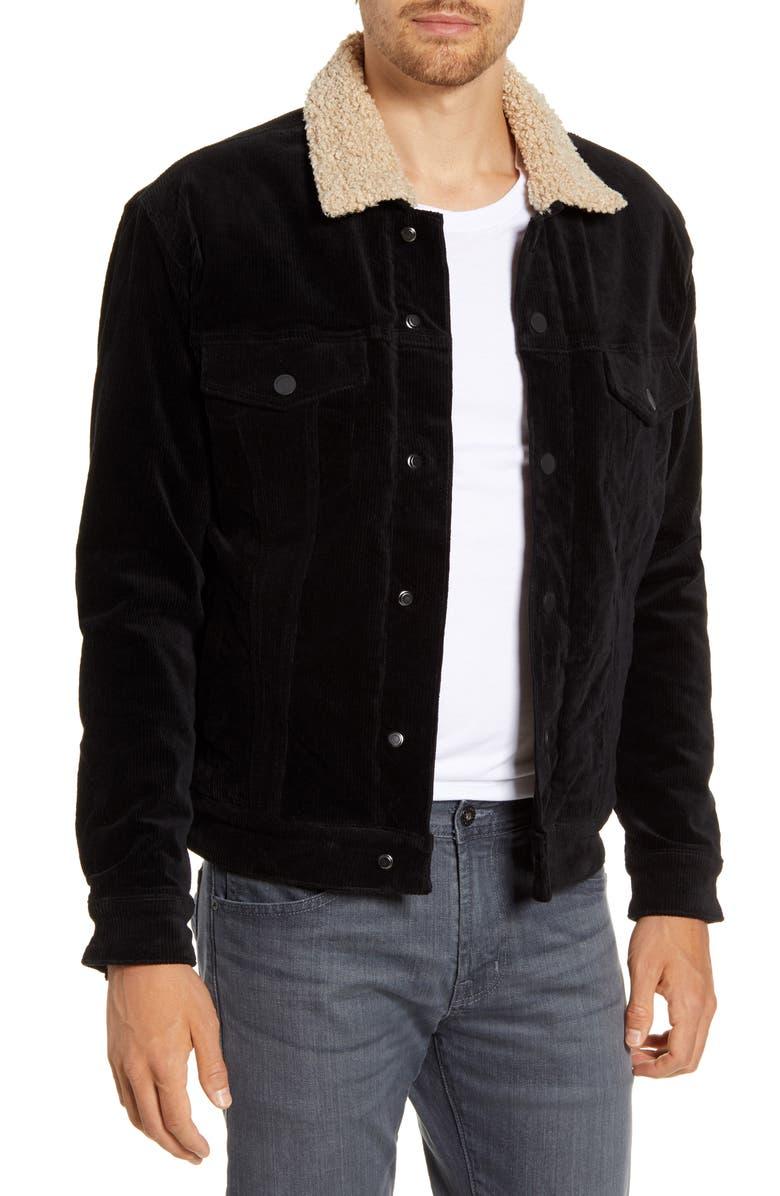 BLANKNYC Fleece Lined Corduroy Trucker Jacket, Main, color, JET BLACK