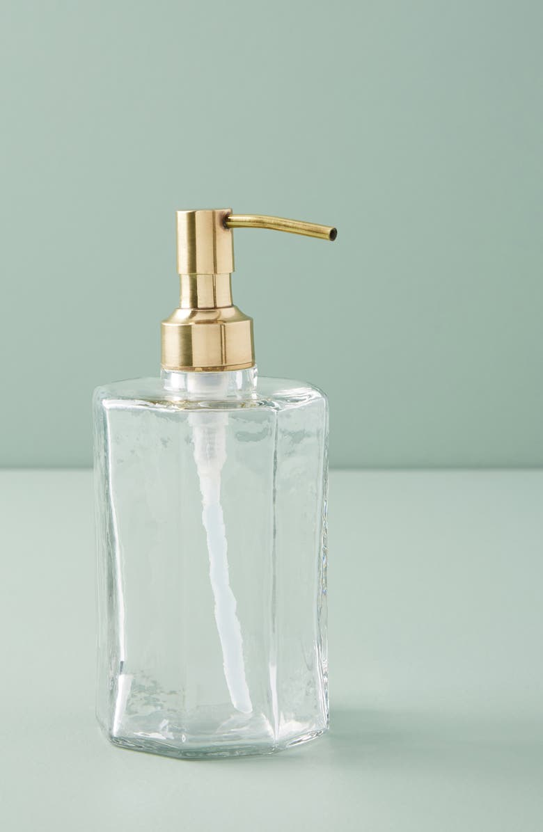 ANTHROPOLOGIE Small Glass & Goldtone Soap Dispenser, Main, color, CLEAR