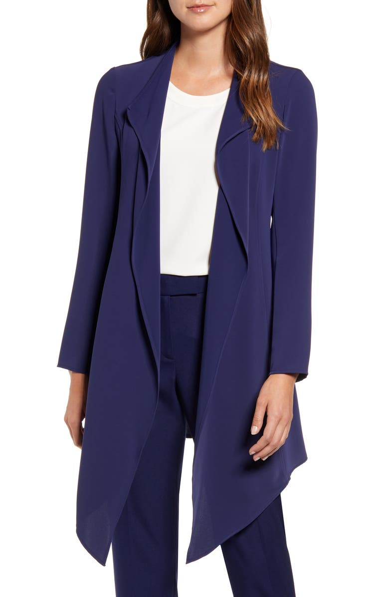 ANNE KLEIN Drape Front Long Jacket, Main, color, ECLIPSE