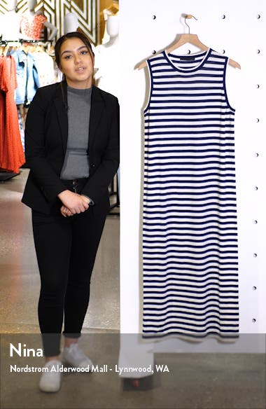 Stripe Sleeveless Merino Wool Midi Dress, sales video thumbnail