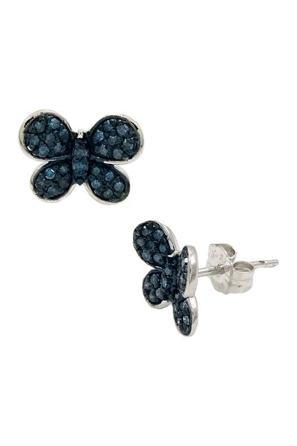 Image of Savvy Cie Rhodium Plated Sterling Silver Blue Diamond Butterfly Stud Earrings - 0.25 ctw