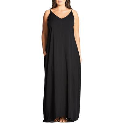 Plus Size City Chic V-Neck Maxi Dress, Black