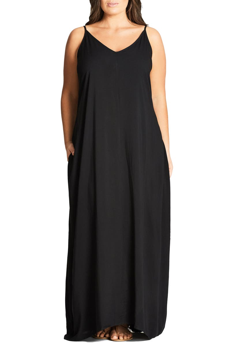 CITY CHIC V-Neck Maxi Dress, Main, color, BLACK