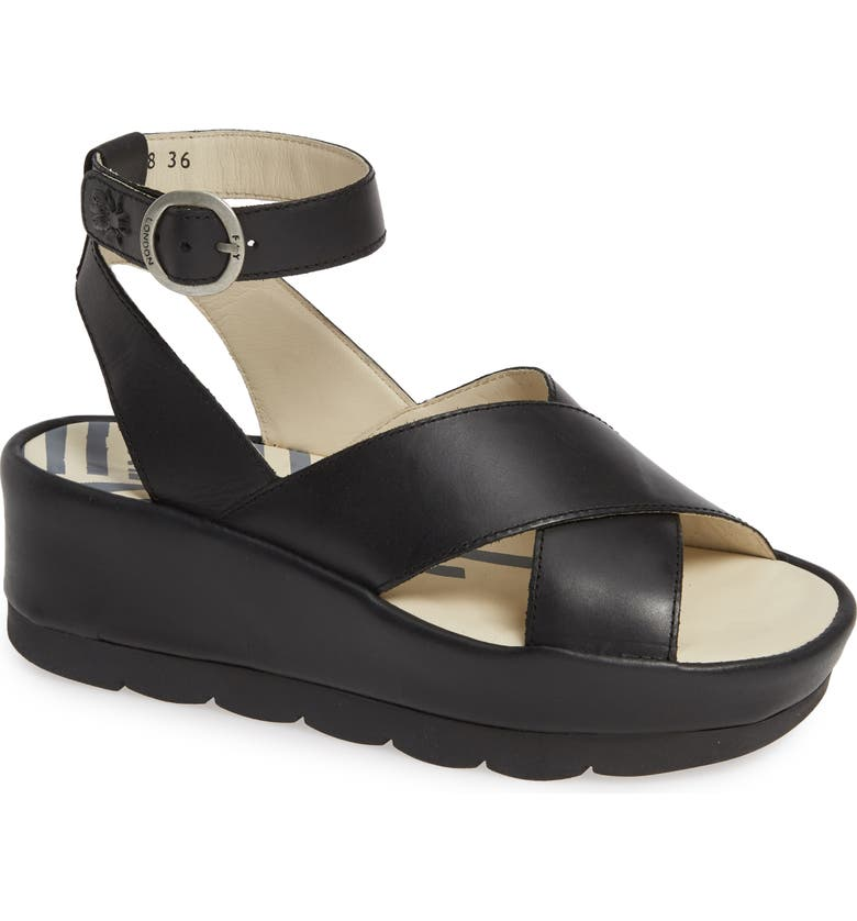 FLY LONDON Bite Wedge Sandal, Main, color, BLACK LEATHER